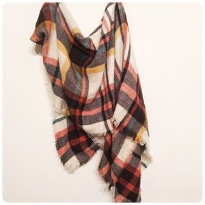 Large plaid scarf wrap
